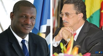 """In a recent interview Prime Minister Kenny Anthony (right) told DBS' Pete Ninvale he considers death threats normal; an occupational hazard. He added that the 2010  gang-related fatal shooting outside the constituency office of the MP for Castries North, Stephenson King (left) was """"a warning of what could happen to parliamentarians."""""""