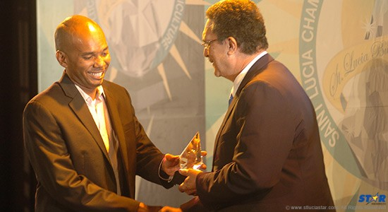 A representative of West Technology Group Inc receiving the Prime Minister's Award for Innovation.