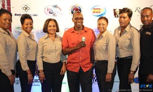 Gaius Harry, brand manager of Heineken with SLTB officials at the sponsors' presentation.