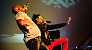 Superman HD and Ricky T on stage at the opening of Carnival.