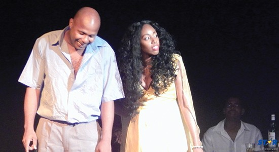Leading actors Miguel Kenswil and Shakira Roberts of  YouthSPAC performing at the National Cultural Centre.