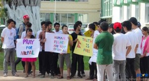 Students from Nepal and India demonstrating outside Government Buildings at the Castries Waterfront against the lack of official attention given their predicament.