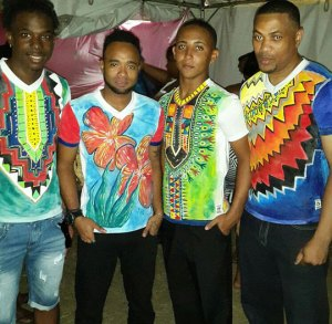 These young men are all wearing hand painted Tees by Laura Bruce.