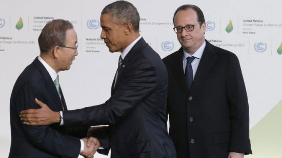 World leaders including president of the United States Barack Obama (centre) are attending the Climate Change Summit in Paris.