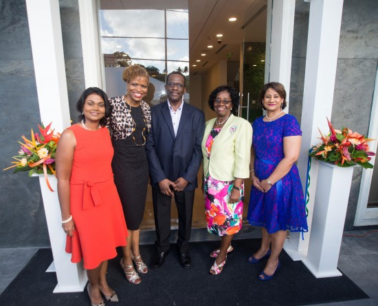 All smiles at the opening of First Citizens new home. L-R: Group CEO Karen Darbasie, Carole Eleuthere-Jn. Marie Regional Manager of FCIS, Phillip J. Pierre Minister for Infrastructure, Port Services & Transport, Governor General Dame Pearlette Louisy and Sana Ragbir General Manager.