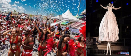 """(Left) Revellers enjoying what is often described as """"the greatest show on earth"""" - Trinidad Carnival! (Right) What would carnival be without controversy and topical issues? Peter Minshall's creation for 2016 - """"Dying Swan"""" - stirred up both."""