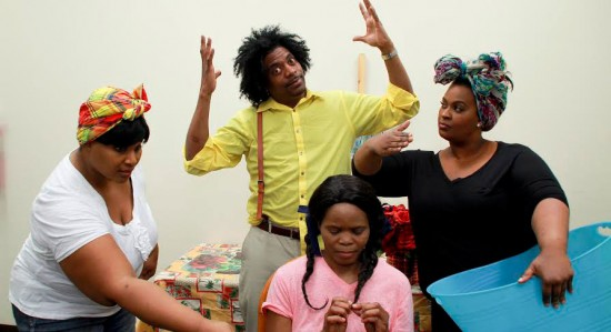 Saint Lucian actors based in Brooklyn during a dress rehearsal for an upcoming play.