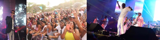 (Left) Marc Anthony was the SLTBs choice to close the silver jubilee year of the festival (Centre) ...and the crowds look on (Right) Kool & the Gang showing just how we used to get down on it back in the day.