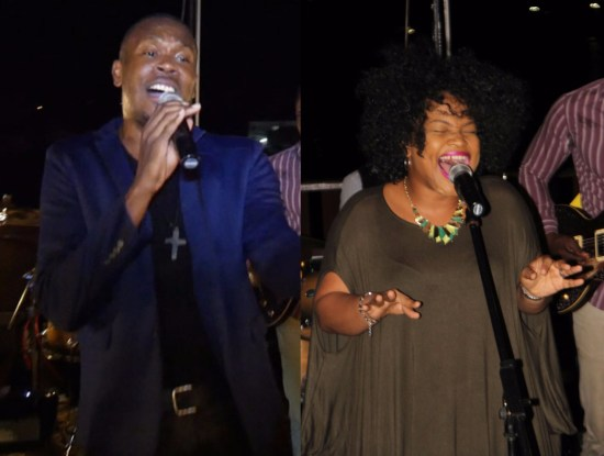 (Left) Dupes did it again with his proud Pops in the audience looking and listening! (Right) Jessy Leonce sang her heart and soul out on Wednesday at Tapas.