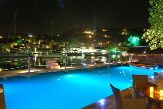 The stunning view of Marigot Bay from Rainforest Hideaway.