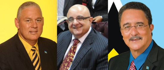 Will the new prime minister Allen Chastanet (left) inherit the lauded talents of genius Dominican lawyer Anthony Astaphan QC (center)? And what will Chastanet's predecessor (right) do to bring together the first mentioned two?