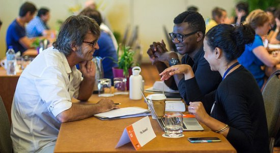 Participants at the 2015 inaugural Caribbean Film Mart meet one-on-one with international industry professionals.