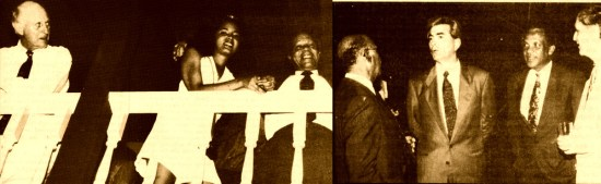 """(Left)Prime Minister John Compton in his element at the 1992 opening of Jalousie Hotel (""""a night for lovers"""" is how he described the occasion). At left, Colin Tennant. (Right)Jalousie owner Prince Pascal Mahvi (center) flanked by commerce minister George Mallet (left) and tourism minister Romanus Lansiquot."""
