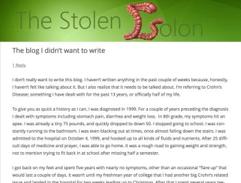 the stolen colon blog post ileostomy crohn's disease inflammatory bowel ulcerative colitis stephanie hughes