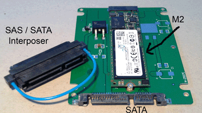 SAS SATA interposer and M2 to SATA docking card