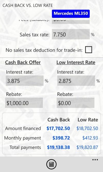 Auto Loan Calcs Pro for Windows 10 Mobile
