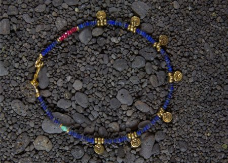 Lapis Anklet With Spiral Drops