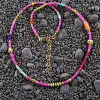 Pink tourmaline necklace with carnelian & 22k gold plated beads