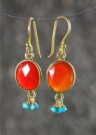 Carnelian earrings with sleeping beauty turquoise, 22k