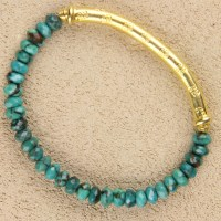 Faceted Blue Turquoise Stretch Bracelet