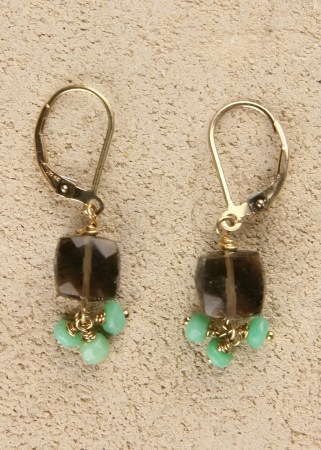 Smoky Topaz cubes with 3 dangling Chrysoprase