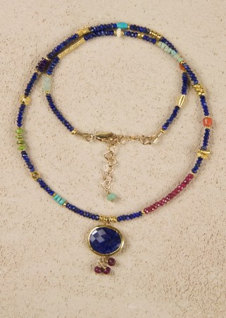 Faceted Lapis in Gold with Sapphire and Ruby drop Pendant