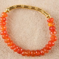 Carnelian Gold Stretch Bracelet