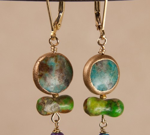 Round Turquoise with Green Bone and One Purple Turquoise drop