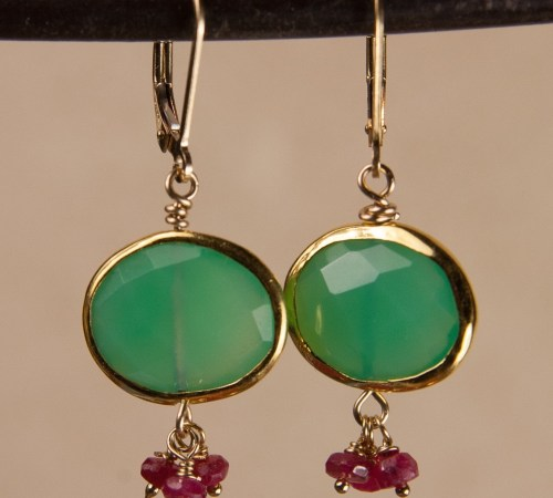 Chrysoprase Oval Earrings with 3 Ruby Dangles