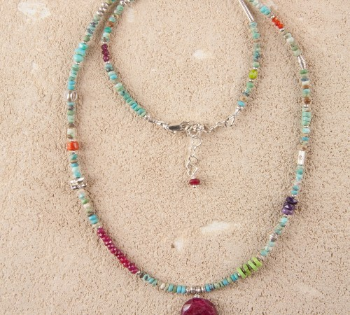 Turquoise Silver Necklace with Ruby Oval Pendant and Three Purple Turquoise