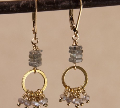 Jill's Earrings in Labradorite with Square Stacked Labradorite beads.