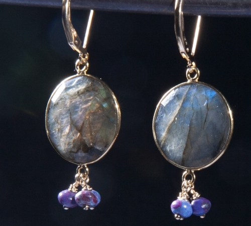 Labradorite Round Earrings with Purple Turquoise