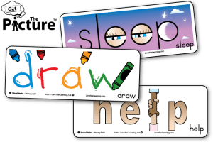 3 example cards from Get the Picture Visual Verbs vocabulary cards: Sleep, Draw, Help