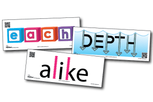"Three cards from Lone Star Learning's Test Taking Terms vocabulary card set, showing ""each"", ""depth"", and ""alike"""