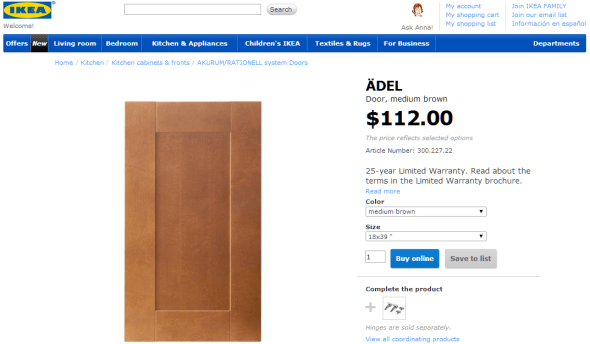 $112 for a particle board door. Not going to happen.