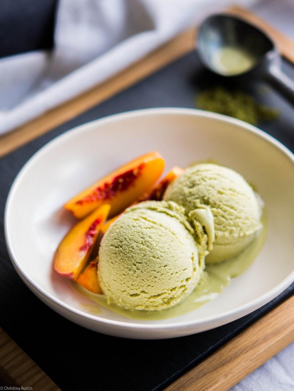 Honey Sweetened Green Tea Ice Cream