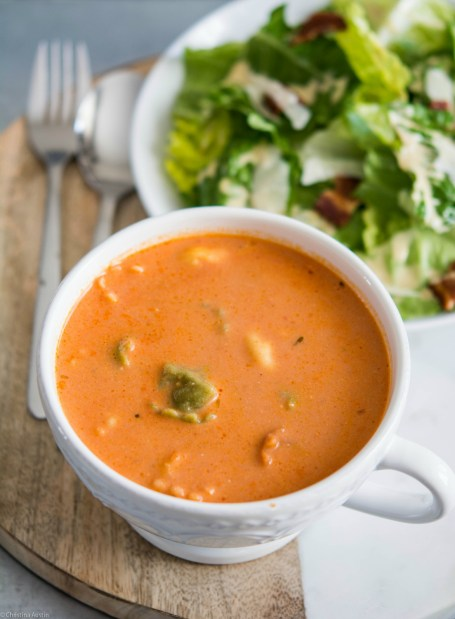 Creamy Tomato Soup with Goat Cheese & Cheese Tortellini