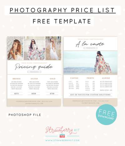 Photographer price list template FREE!   Strawberry Kit