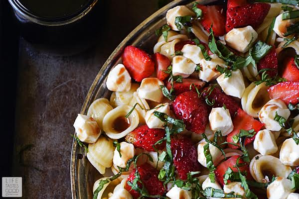 Strawberry Caprese Pasta Salad by Life Tastes Good