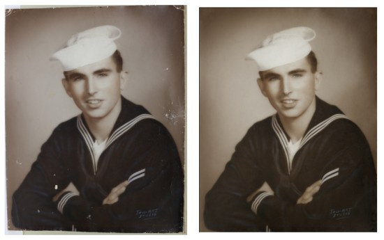Navy Sailor Photo Restoration Before After