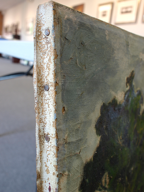Brittle painting edge needs restoration