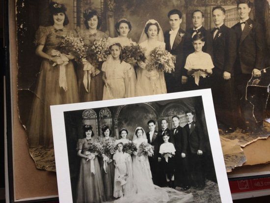 Before and after print for wedding photo restoration