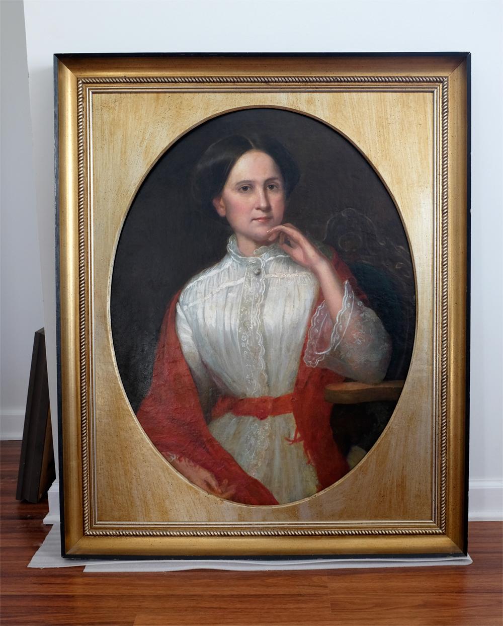 Elegant portrait painting fully restored and framed