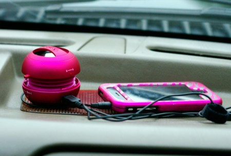 X-mini Speaker with my iPhone in our Truck