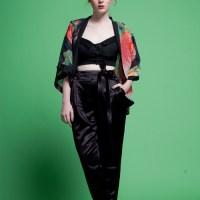 Kimono Pants - Black Satin