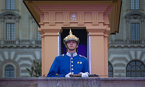 English: Stockholm Castle guard, LOVE Stockhol...