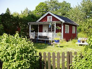 Farmhouses in Småland are typically red with w...