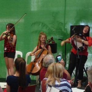 String Loaded at the Atrium Shopping Centre Tamworth 2016 with one of fabulous Chicken Dancing audience members