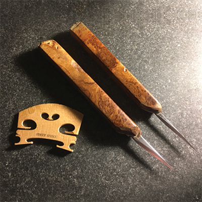 violin restorer Stacey Styles's hand-made cherrywood violin-bridge-making knives