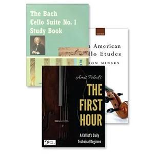 Aaron Minsky's Ten American Cello Études (Oxford University Press), Cassia Harvey's The Bach Cello Suite No. 1 Study Book (C. Harvey Publications), Amit Peled's The First Hour, A Cellist's Daily Technical Regimen (CTM Classics)